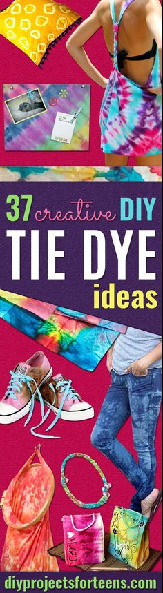 DIY Tie Dye Projects and Crafts - Cool Tie Dye Ideas for Shirts, Socks, Paint, Sheets, Sharpie, Food and Recipes, Bags, Tshirt and Shoes - Fun Projects and Gifts for Adults, Teens and Teenagers  via @diyprojectteens Diy Tie Dye Projects, Tie Dye Crafts, Diy Projects For Teens, Diy For Teens, Fun Projects, Kleidung Design, Diy Kleidung, Fun Crafts, Arts And Crafts