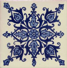 12 mexican talavera 4x4 clay ceramic tiles