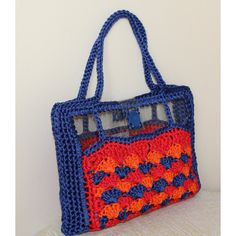Multicolor shoulder bag, Summer bag, Summer trends, Crochet shoulder... (€140) ❤ liked on Polyvore featuring bags, handbags, shoulder bags, top handle bags, blue handbags, handbag purse, man bag and blue purse