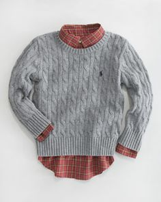 -3VZZ Ralph Lauren Childrenswear Classic Crewneck Sweater & Plaid Poplin Shirt