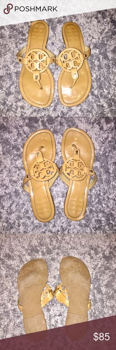 Used Authentic Tory Burch Miller Sandals Used Tory Burch Miller Sandals in color tan! These shoes have tons of life left in them and are perfect to throw on. Pictures show wear on bottoms of shoes and on the bottom side of right shoe Tory Burch Shoes Sandals