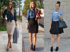 01_Look Camisa jeans_expediente da moda_camisa jeans com saia preta_camisa jeans com saia feminina_ look de trabalho