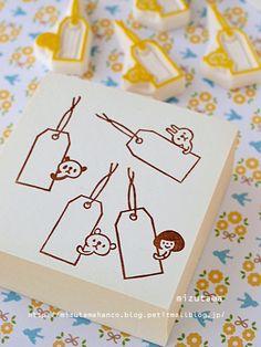Tag stamps by mizutama Eraser Stamp, Planner Doodles, Diy And Crafts, Paper Crafts, Stamp Carving, Handmade Stamps, Stamp Printing, Wood Stamp, Stationery