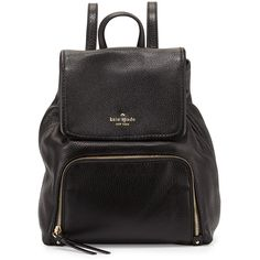 kate spade new york cobble hill charley leather backpack ($348) ❤ liked on Polyvore featuring bags, backpacks, black, kate spade backpack, leather drawstring pouch, leather zip pouch, drawstring flap backpack and leather rucksack