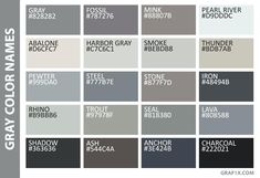 Grey Color Names Shades Of Grey Color Chart Gray Color Names Fifty Shades Of Grey Color Names Baby, Grey Color Names, Shades Of Gray Color, Fifty Shades Of Grey, Color Names Chart, Grey Colour Chart, Pelo Color Gris, Grey Color Pallets, Colour Dictionary