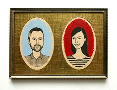 custom illustrated couple portrait by JordanGraceOwens on Etsy, $150.00