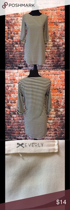 """Black & Cream stripped dress by Everly size S Black & Cream stripped dress by Everly size S-approx 31"""" in length (laid flat) approx 15"""" (laid shoulder length) approx 18.5"""" (laid flat armpit to armpit) Everly Dresses"""