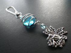 Rear View Mirror Charm Fairy Magic Blue Glass by CassieVision