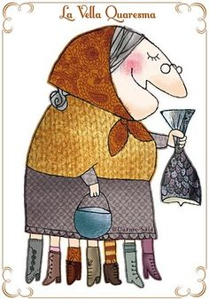 Old mother Lent (La Vella Quaresma): This is a Popular Catalan tradition that uses the legs of this old Lady as a calendar, to count the weeks that remain, from the last day of Carnival until Easter festivities start. During these 7 weeks. Old Mother, Easter Celebration, Bear Doll, Winter Kids, Whimsical Art, Summer Crafts, Easter Crafts, Paper Dolls, Illustrators