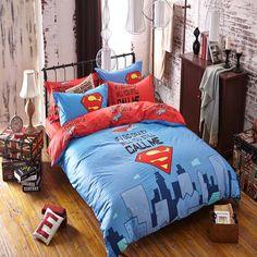 Stad Superman Afdrukken Kinderen/3D Cartoon ontwerp grote versie Beddengoed Dekbedovertrek Laken Kinderen Kids Beddengoed Sets