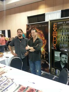 The Jasons booth at the SWFL Reading Festival 2013. Jason Jones looks in a lot better shape than I do here, hence, Ive been in the gym....