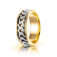 Two Tone 10k Yellow-white-yellow Gold Celtic Infinity Knot Wedding Band Polish 7mm 01701
