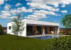 Projekt dřevostavby bungalovu s plochou střechou 515 Home Fashion, Garage Doors, Mansions, House Styles, Outdoor Decor, Home Decor, Decoration Home, Manor Houses, Room Decor