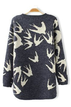 Swallow Print Loose Pullover Sweater