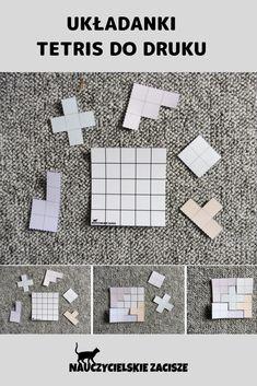 Układanki w wersji kolorowej i czarno-białej do druku Puzzle Tetris for kids - free download www.nauczycielskiezacisze.pl