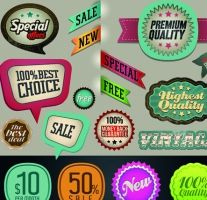 vintage premium quality labels and stickers vector