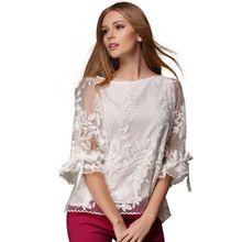 New 2015 Summer Women Fashion White Mesh Lace Chiffon Blouses Plus Size O-Neck Flare Sleeve Shirt Women Summer Blouses 12G 30(China (Mainland))