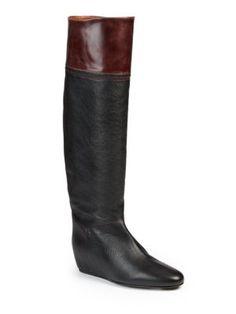 Lanvin Hidden Wedge Knee High Leather Boots   Footwear
