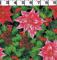 Christmas Morning Exclusively Quilters COTTON FABRIC Poinsettias By the Yd quilt #ExclusivelyQuilters