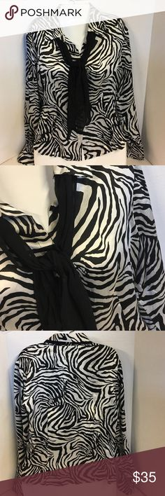 🌺Robbie Bee zebra blouse with scarf tie small 🌺Robbie Bee zebra blouse with scarf tie small. So pretty and 100% silk!!!!! Long sleeves with one button closure. Button up frint with feminine cut. Scarf is sheer. In excellent condition. Robbie Bee Tops Button Down Shirts