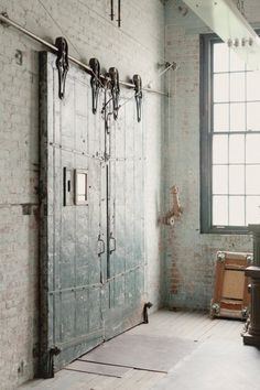 Conventional Doors on pre-existing Loft spaces in industrial spaces.  Often kept by inhabitants as a memory of the previous usage.