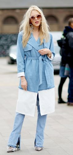 Double denim. Blogger Shea Marie of Peace Love Shea wears vintage #Levis while at London Fashion Week.