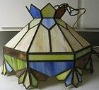 For Sale - VINTAGE TIFFANY STYLE STAINED GLASS HANGING SWAG LAMP CHANDELIER