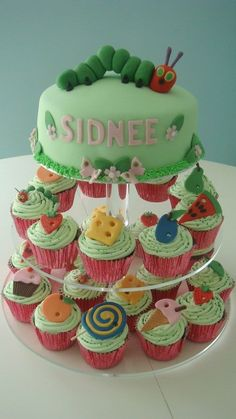 The Hungry Caterpillar inspired cake and cupcakes- SUPER CUTE IDEA