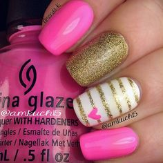 Pink, White, And Gold Nail Art Design