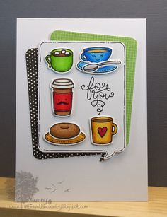 Lawn Fawn - Love You a Latte + coordinating dies, Peace Joy Love 6x6 paper _ adorable card by Jenny via Flickr - Photo Sharing!