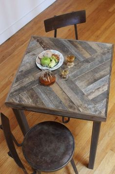 Woodblock table.