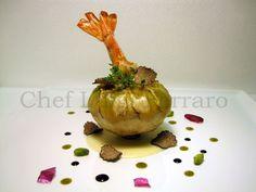 Il carciofo al gamberone in granella di pistacchio, tartufo nero e salsa al caciocavallo silano. Ricetta di Luigi Ferraro