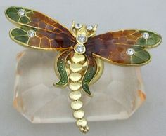 Passiflora Amber Green Dragonfly on Crystal Perfume Bottle