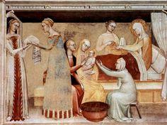 "Giovanni da Milano Fresco ""The Nativity of Mary"" (Florence, Santa Croce, Rinuccini Chapel)"