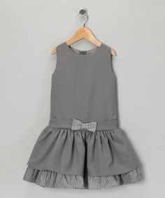 Gray Gingham Bow Dress  - Infant, Toddler & Girls