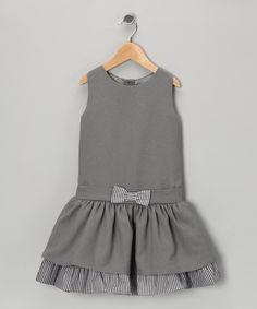 Gray Gingham Bow Dress - Infant, Toddler & Girls