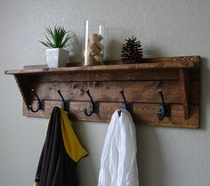 Classic American Rustic 5 Hanger Hook Coat Rack with Shelf More