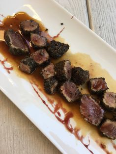 Melt-in-your-mouth bites of pan-seared tuna porchettato, drizzled with a delicious agrodolce sauce. It can't get any tastier than this! http://flavorofitalyblog.com/restaurants-in-rome-snapsnsnippets/