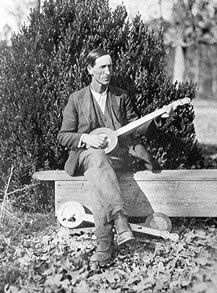 In 1988 more photos taken by Robert Winslow Gordon were found and copies were made for the Library of Congress. This photo shows the same banjos as in the photograph above, with one being played by an unknown man. Western North Carolina, 1924 or 1925. Since he is posed with three similar banjos, he may have been a banjo maker. Photo courtesy of Mr. and Mrs. Bert Nye.