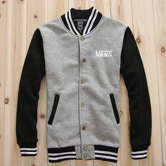 VANS Men Stripe Collar Grey Varsity Cotton Baseball Jacket