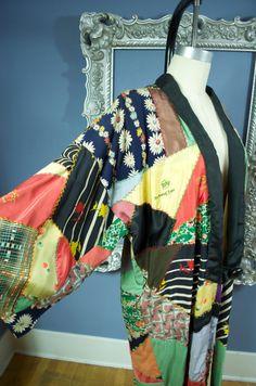 1930s crazy quilt robe 30s silk kimono Vintage housecoat patchwork bohemian Folk Art on Etsy, $448.00