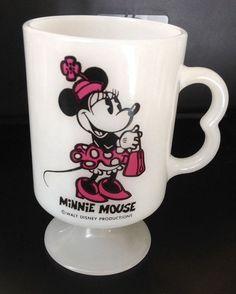 Vintage Minnie Mouse Coffee Mug Cup Milk Glass Pedestal USA 1970 Walt Disney in Collectibles, Disneyana, Contemporary (1968-Now) | eBay