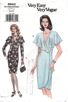 Vogue 8943 Misses 90s Semi Fitted Tapered Wrap Dress Sewing Patten Size 6 8 10 Bust 30 1/2, 31 1/2, 32 1/2 by Denisecraft on Etsy