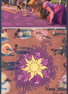 I never noticed she drew people surrounding the flower