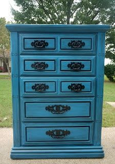 Garbage to Glam: Turquoise Dresser Redo...Love the black detailing with the turquoise