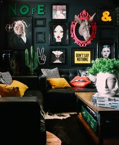 LOVE the rich collection of whimsical, rock glam, fun, and funky decor! Dark Wall Decor Inspiration in a Wales Home Tour Quirky Home Decor, Eclectic Decor, Cheap Home Decor, Diy Home Decor, Room Decor, Funky Decor, Quirky Living Room Ideas, Colorful Decor, Interior Design Kitchen