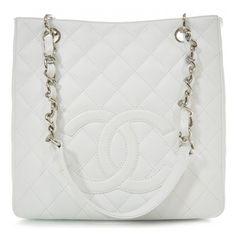 Fashionphile - CHANEL Caviar Petit Shopping Tote PST White NEW ❤ liked on Polyvore featuring bags, handbags, tote bags, purses, chanel, bolsas, borse, man bag, white handbags and handbag tote