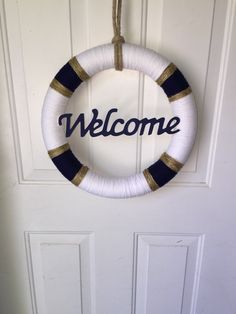 Nautical Decor Door Wreath Beach Decor Life by PinchOfSugarCrafts