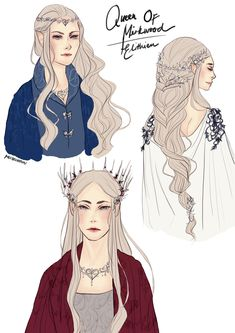 [Re]Introducing the Elven Queen, Elithien! Just a bunch of doodles of new designs and variations of . Tolkien Books, Jrr Tolkien, Character Inspiration, Character Art, Character Design, Legolas Et Thranduil, Tauriel, Lotr, Elven Queen