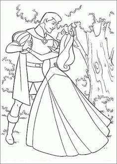 Princess Aurora Dancing with Prince Coloring Pages